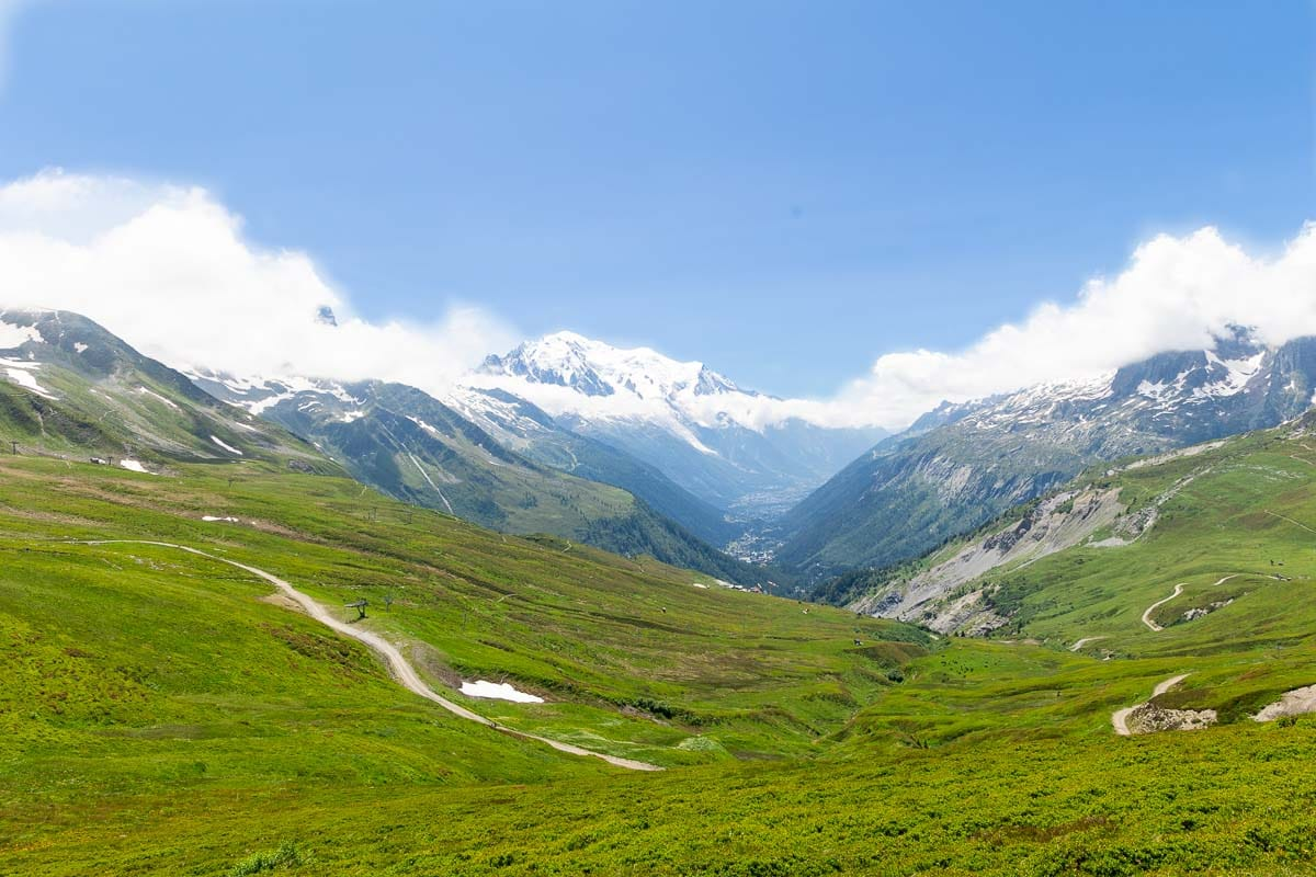 Horizontal landscape photo of the French Alps near Le Tour, France with Mount Blanc in the distance.