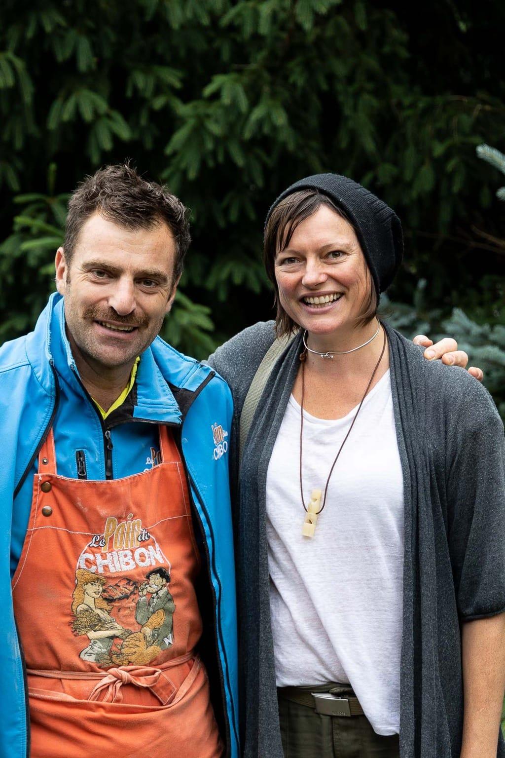 Vertical photo of Emma and Gérard Berrux, the bread maker at Le Pain de Chibon.