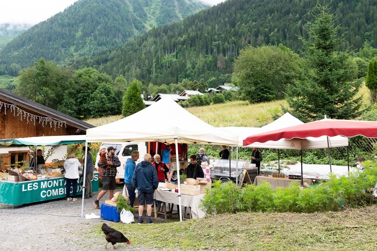 Horizontal photo of a photo of the artisan market near Les Houches, France.