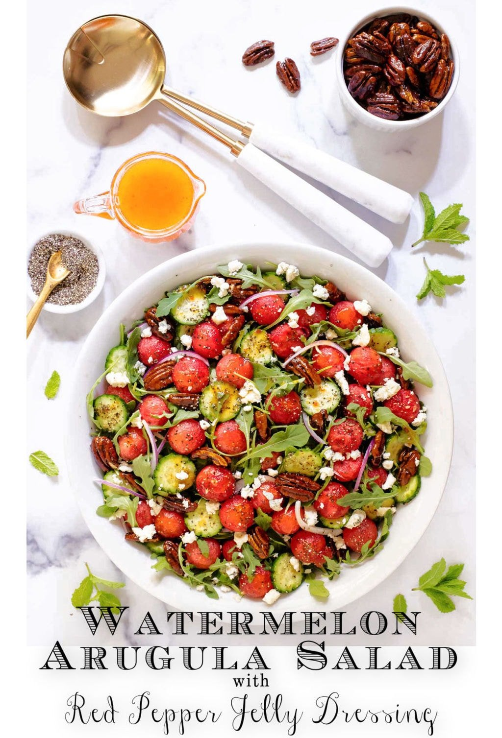 Watermelon Arugula Salad with Pepper Jelly Dressing