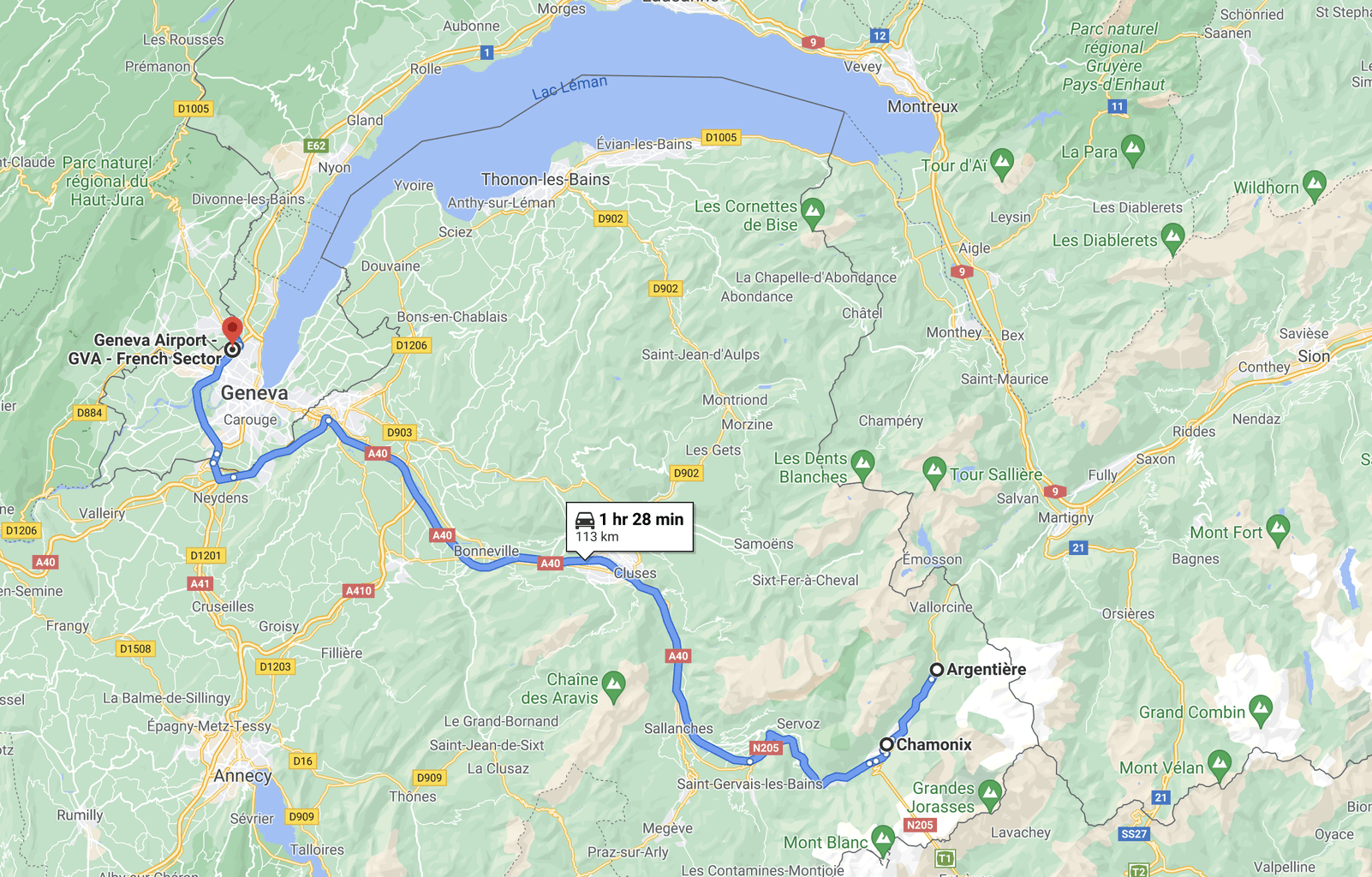 Horizontal map of the Alps region of Europe bordering Italy, France and Switzerland. The map shows the route from Geneva to Argentière, France.