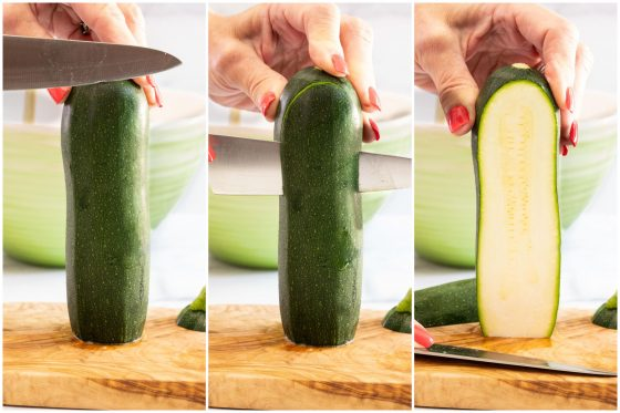 Horizontal 3-photo process collage on how to slice ribbons of zucchini for Make-Ahead Italian Zucchini Involtini.