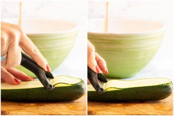Horizontal 2-photo collage of how to cut ribbons of zucchini for making Make-Ahead Italian Zucchini Involtini.
