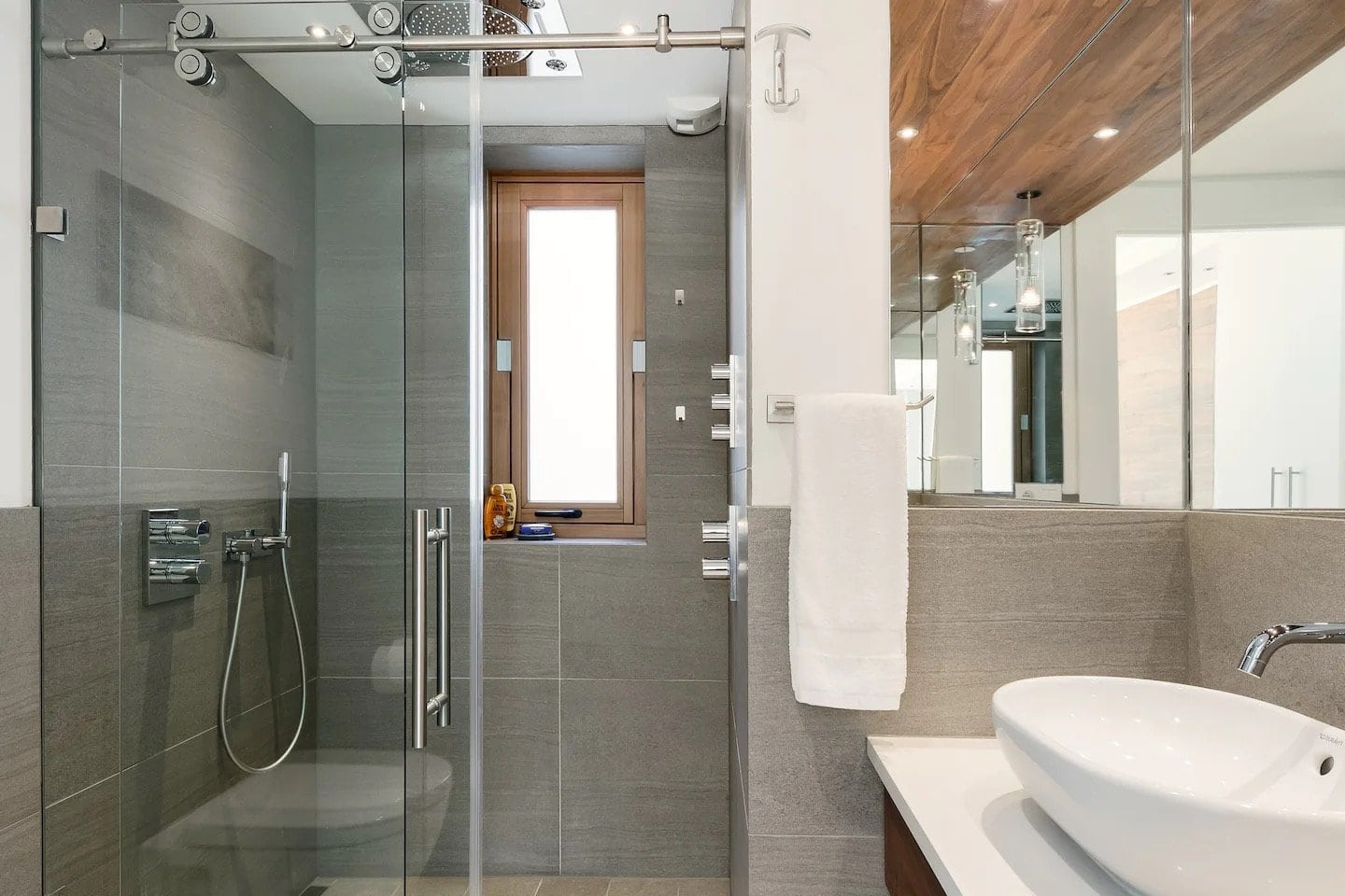 Horizontal photo of one of the two full bathrooms in our condo in Argentière, France.