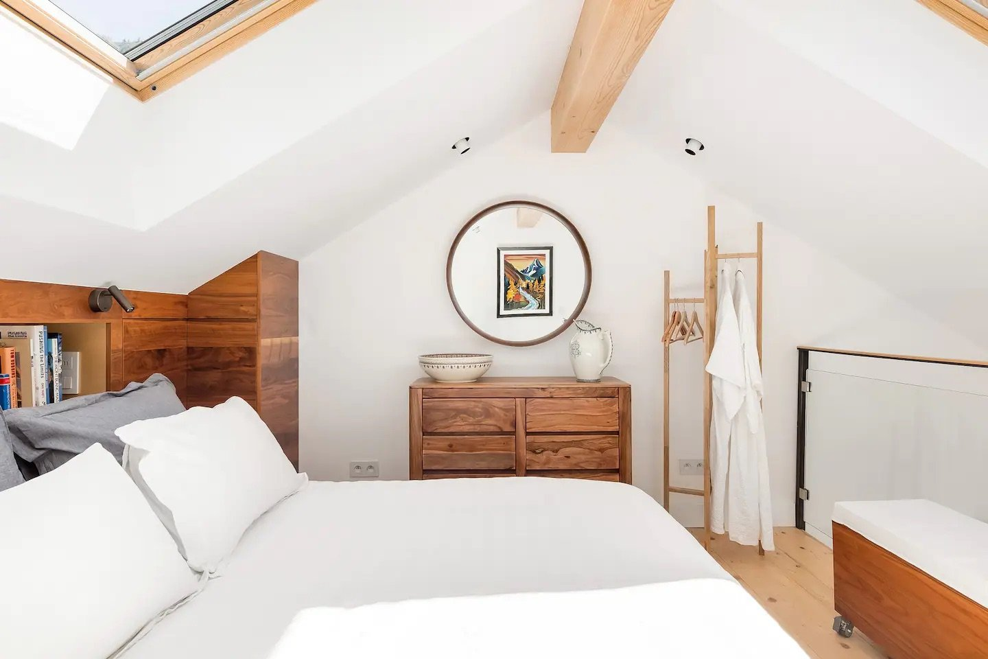 Horizontal photo of the second bedroom in our condo in Argentière, France.