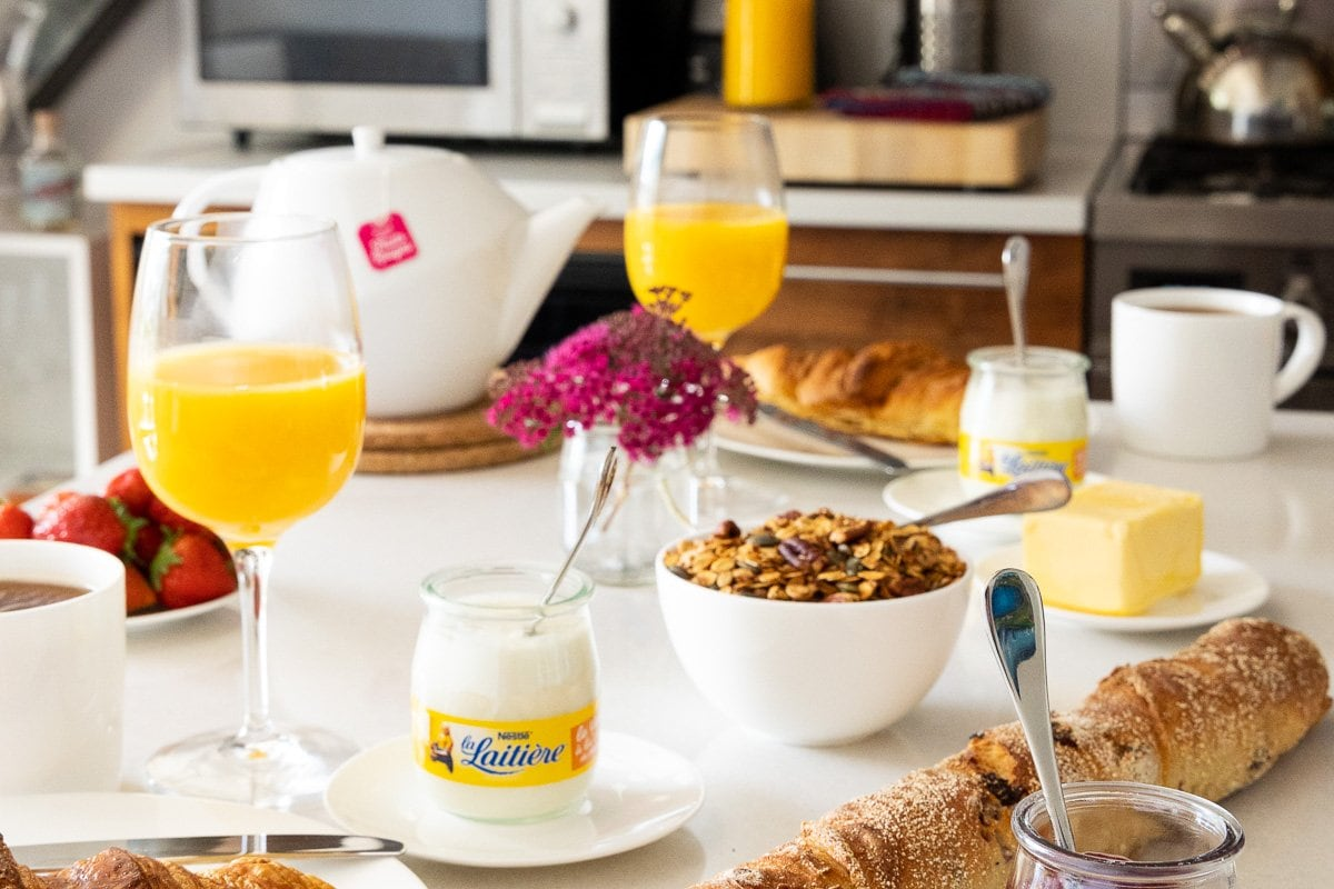 Horizontal photo of a typical breakfast in Argentière, France.