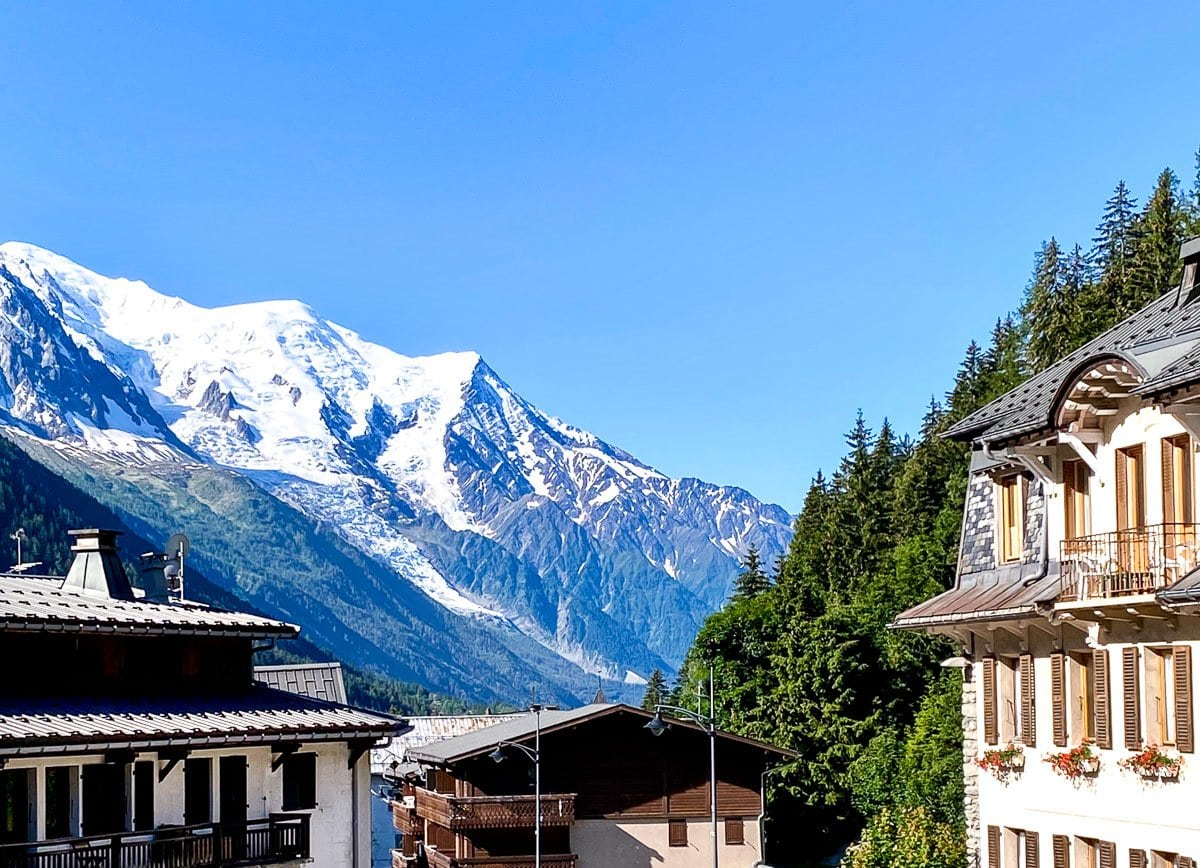 Horizontal photo of Mount LeBlanc from the balcony of our Air BnB home in Argentière, France.