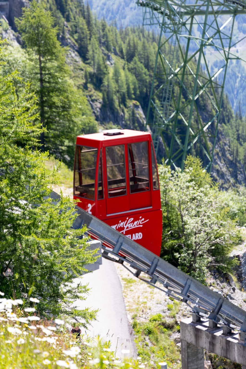 Tram up to the top of one of the mountain meadow areas near Argentiere, France.