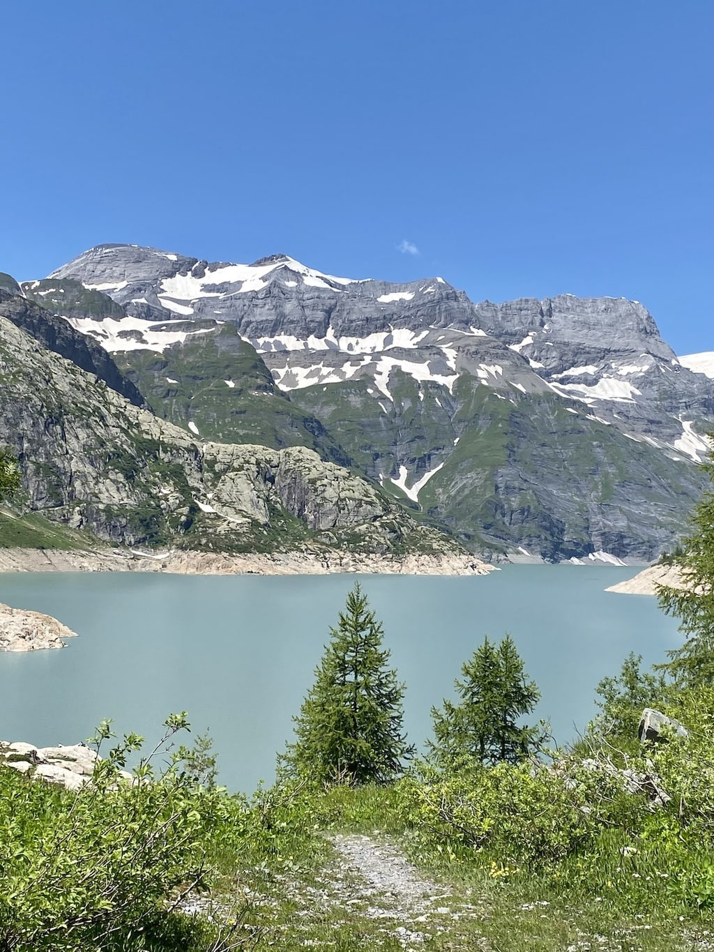 Vertical photo of Lake Emosson, just over the French border in Switzerland.