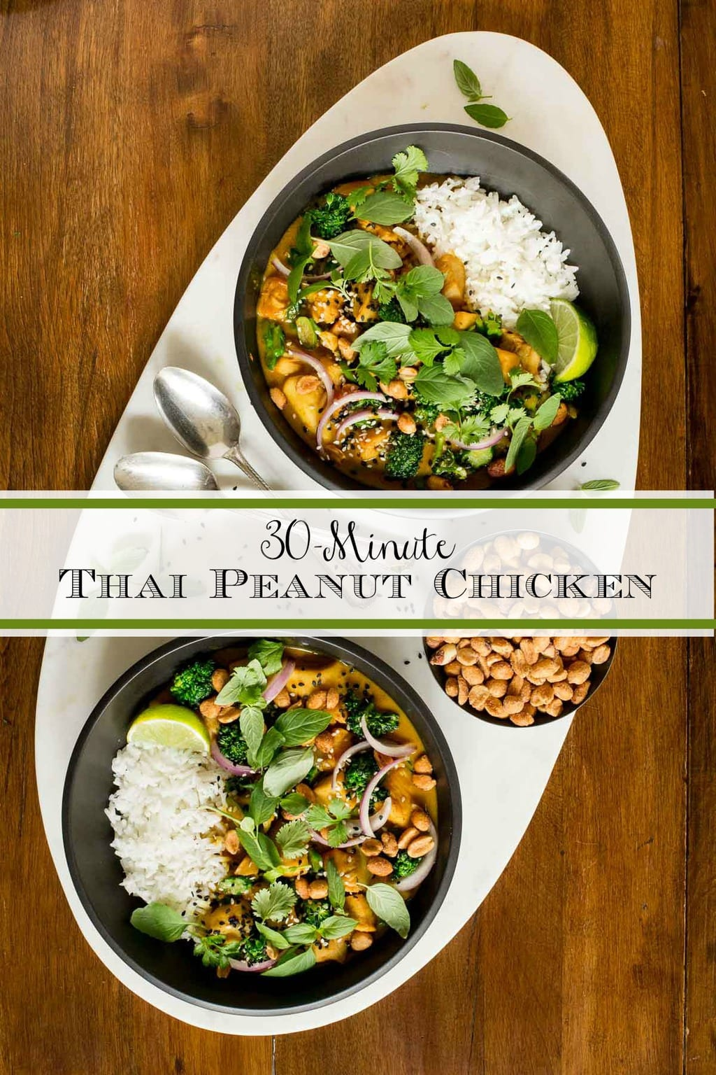 This Thai Peanut Chicken with super tender chicken, healthy veggies and a silky smooth Asian peanut sauce comes together in less time than ordering takeout! #thaipeanutchicken, #easypeanutchicken, #asianpeanutchicken, #quickasianchickenrecipe