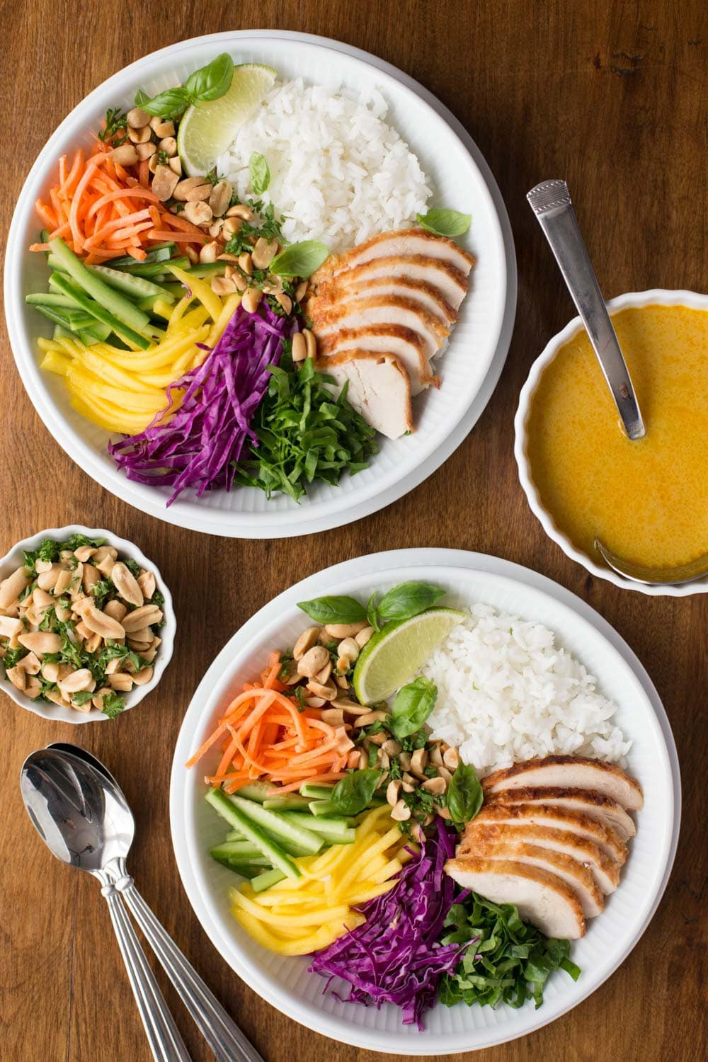 Overhead photo of two servings filled with the ingredients for 30-Minute Vietnamese Chicken and Rice Soup Bowls.