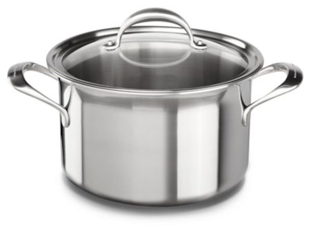 Stock photo of a KitchenAid 5-ply Copper Core 8-Quart Stockpot with Lid