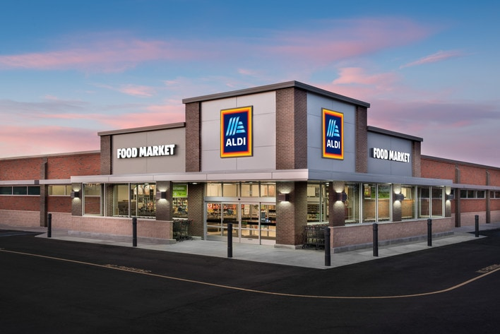 Stock photo of the exterior of an Aldi Food Market for the blog post - What to buy and how to shop at Aldi