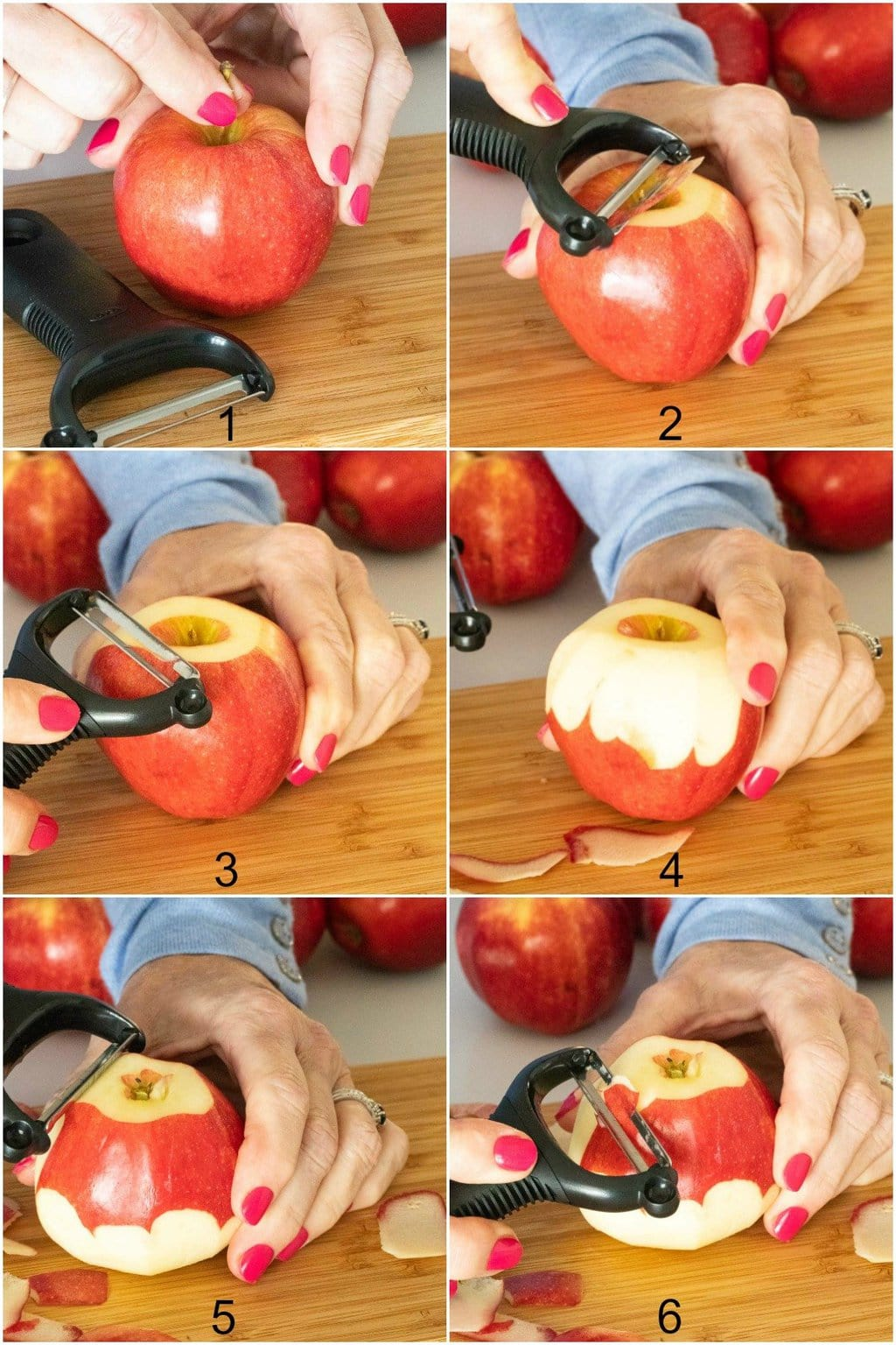 Six-photo vertical collage of pictures demonstrating how to quickly peal an apple for making Annie's Easy Apple Pie.