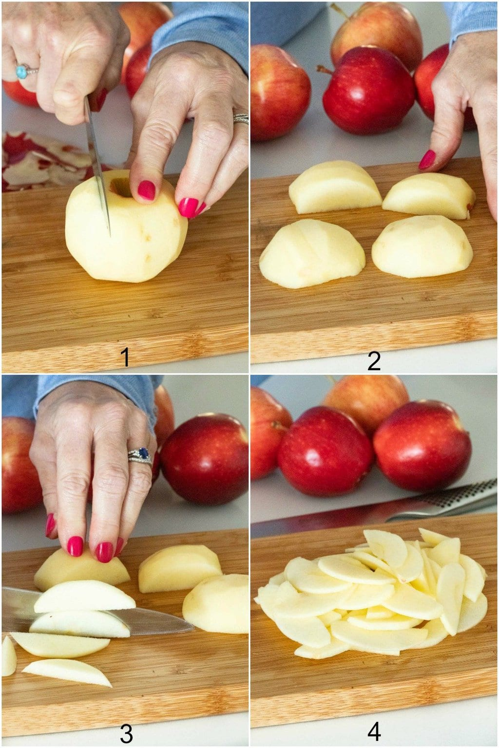 Four photo vertical collage demonstrating how to cut an apple for making Annie's Easy Apple Pie.