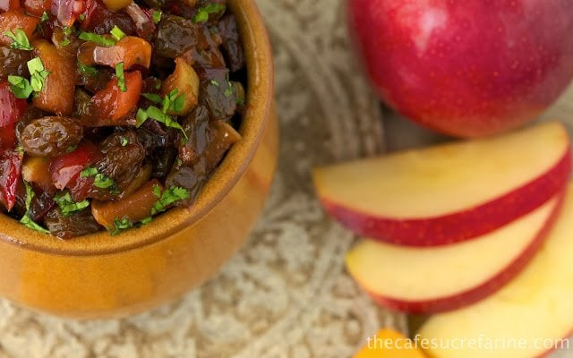 Apple and Pear Chutney - a delicious condiment that comes together quickly. Serve it with crackers, cheese, in paninis or grilled sandwiches and it makes a great side to grilled or roasted pork.