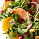 Arugula Orange Salad with Lemon Ginger Salad Dressing - this bright, fresh salad is loaded with delicious seasonal produce. It's sure to chase away the winter blues!