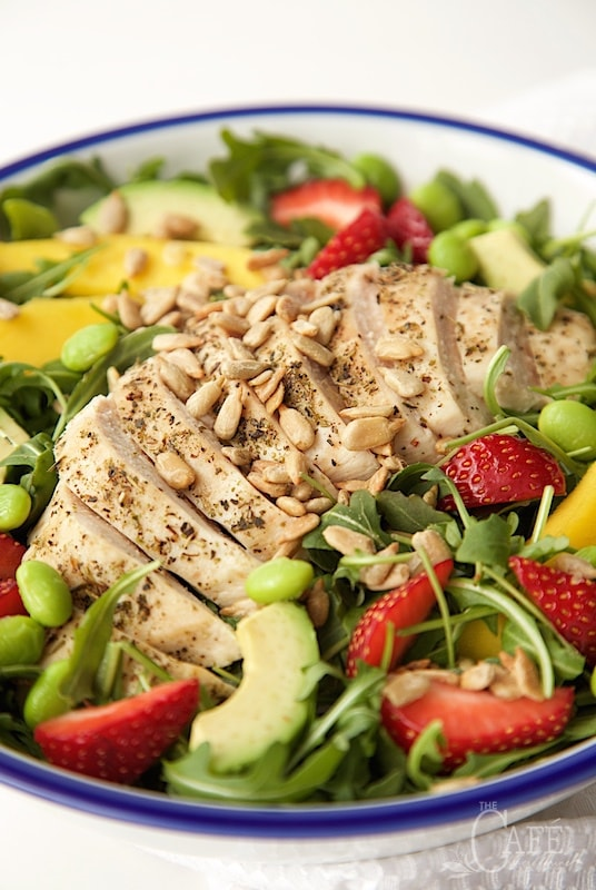 Arugula Chicken Salad with Honey Lime Dressing - a fabulous power salad full of lean protein and delicious fresh produce. The sweet-tart dressing is a perfect finishing touch! thecafesucrefarine.com