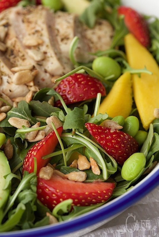 Closeup image of Arugula Chicken Salad with Honey Lime Dressing in a bowl.