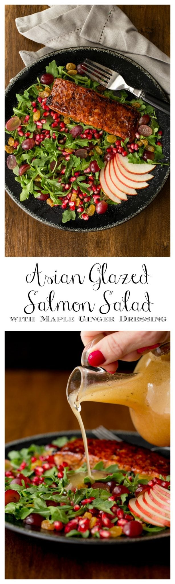 Asian Glazed Salmon Salad - a beautiful. healthy salad. The dressing is transformed to a delicious Asian glaze for the salmon.