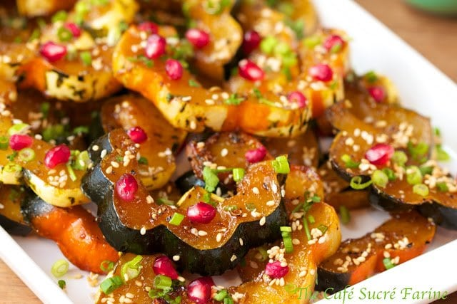 Asian Roasted Acorn Squash with Pomegranate and Brown Butter Sesame Seeds - it's beautiful and amazingly delicious!
