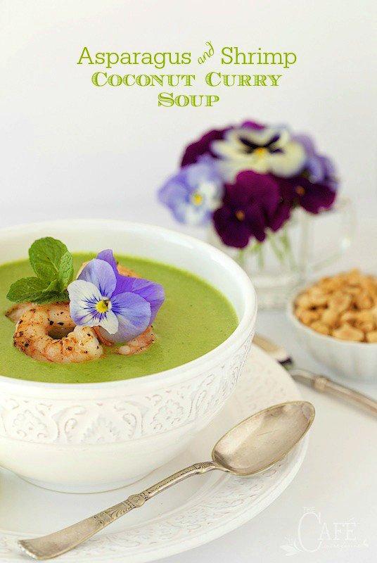 Asparagus and Shrimp Coconut Curry Soup - a delicious and super healthy way to celebrate asparagus season! thecafesucrefarine.com