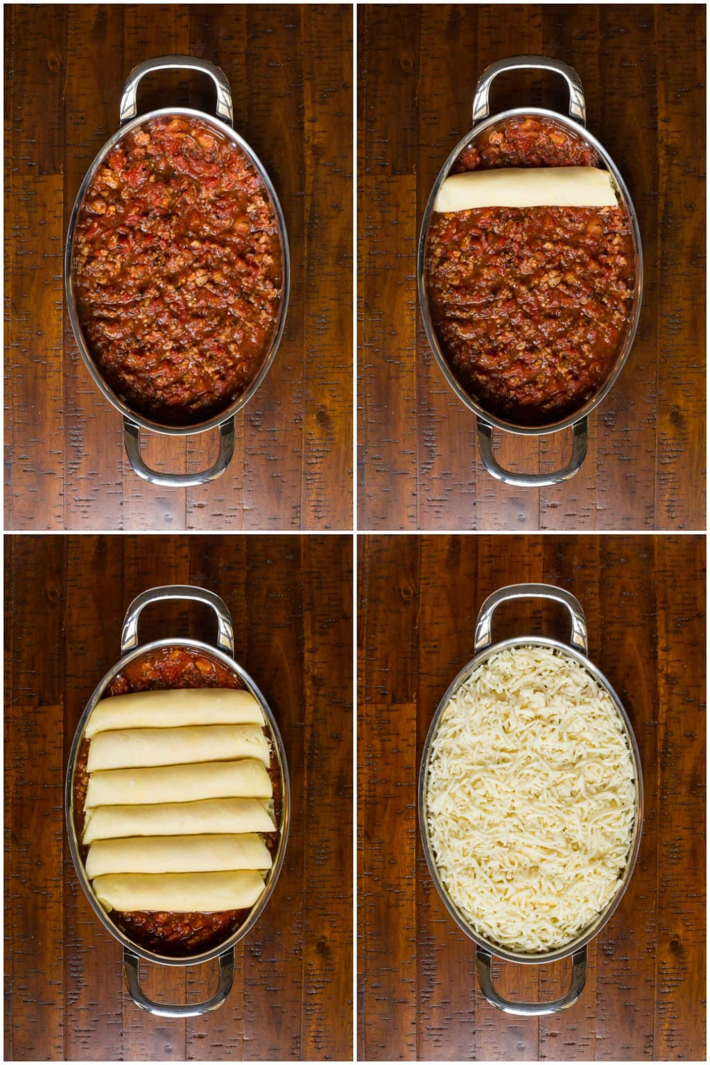 Photo collage of the process of Assembing Homemade Manicotti with cheese and meat sauce.