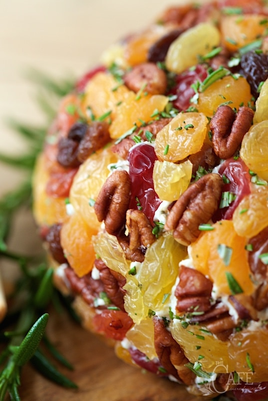 Autumnal Cheesball - a fabulous, make-ahead appetizer with sharp cheddar cheese, fresh herbs, dried fruit and a splash of horseradish for zip!
