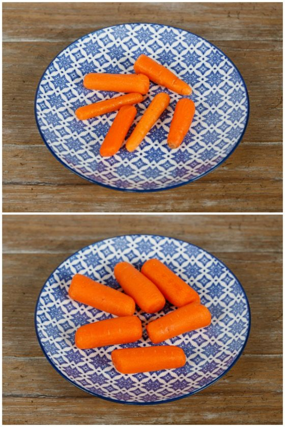 Two photos of different types of baby carrots.