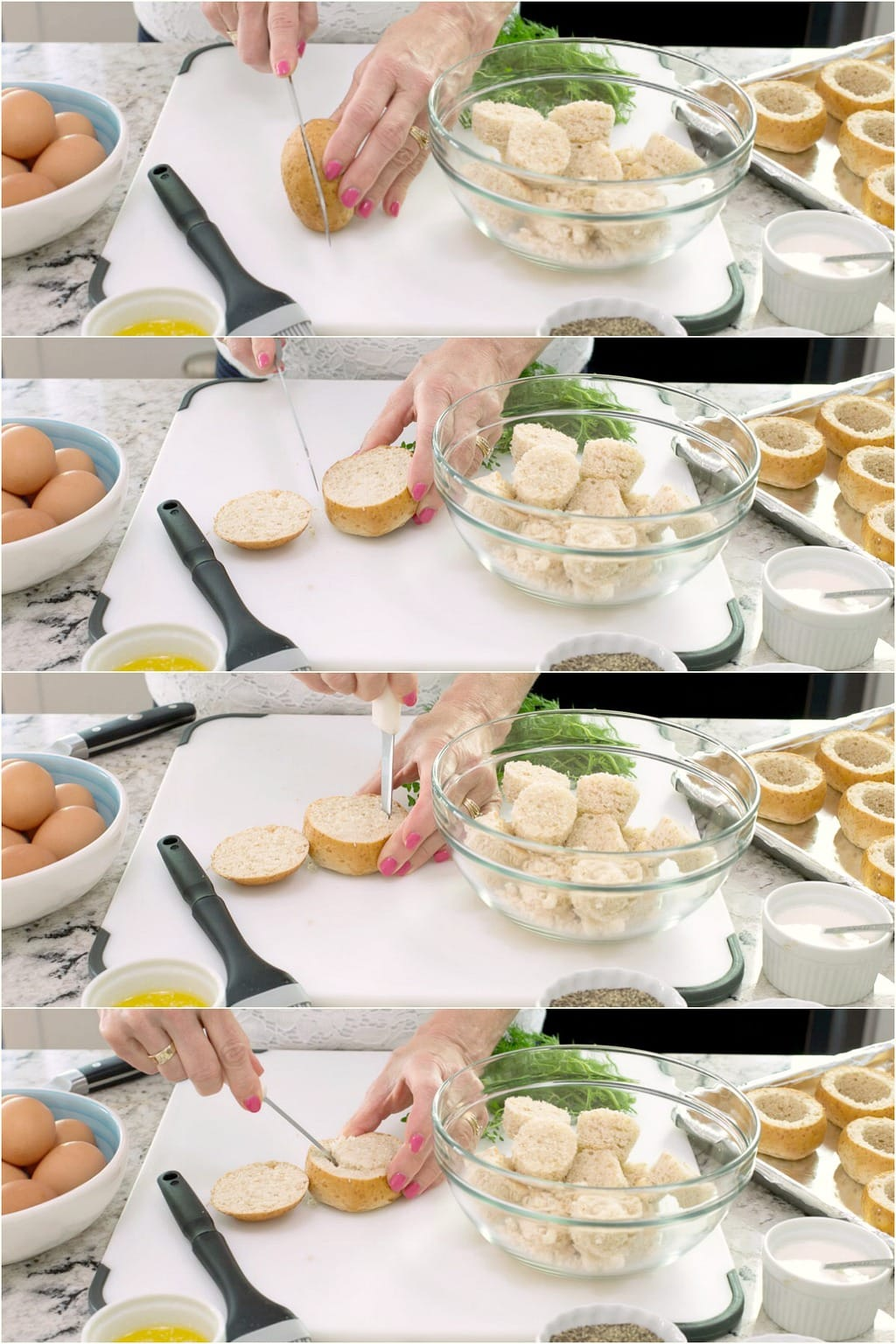 Step-by-step photo collage of how to make Baked Eggs in Bread Baskets.
