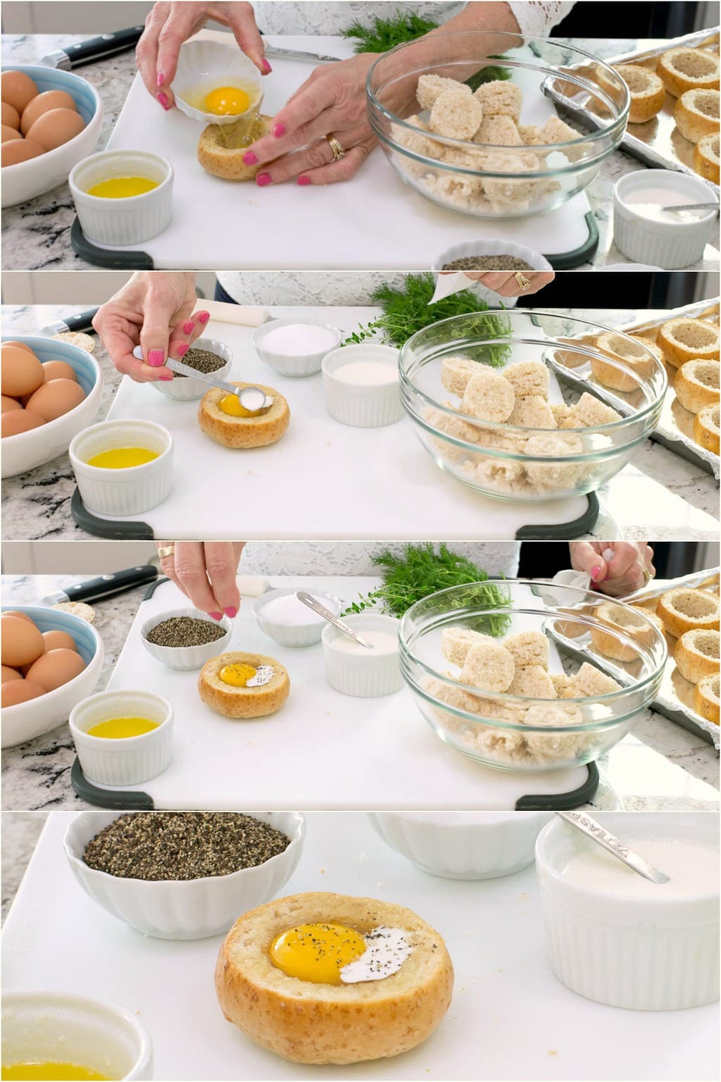 Step-by-step photo collage of how to make Baked Eggs in Bread Baskets - Part 3