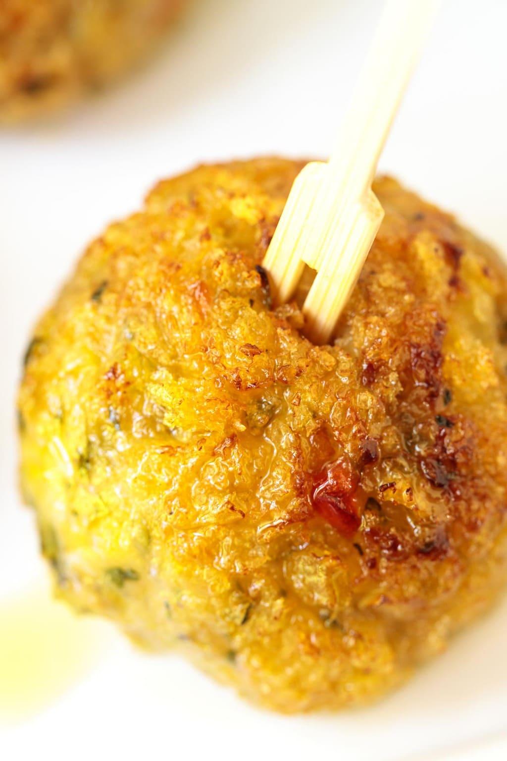 Ultra closeup of a Vietnamese Chicken Meatball.