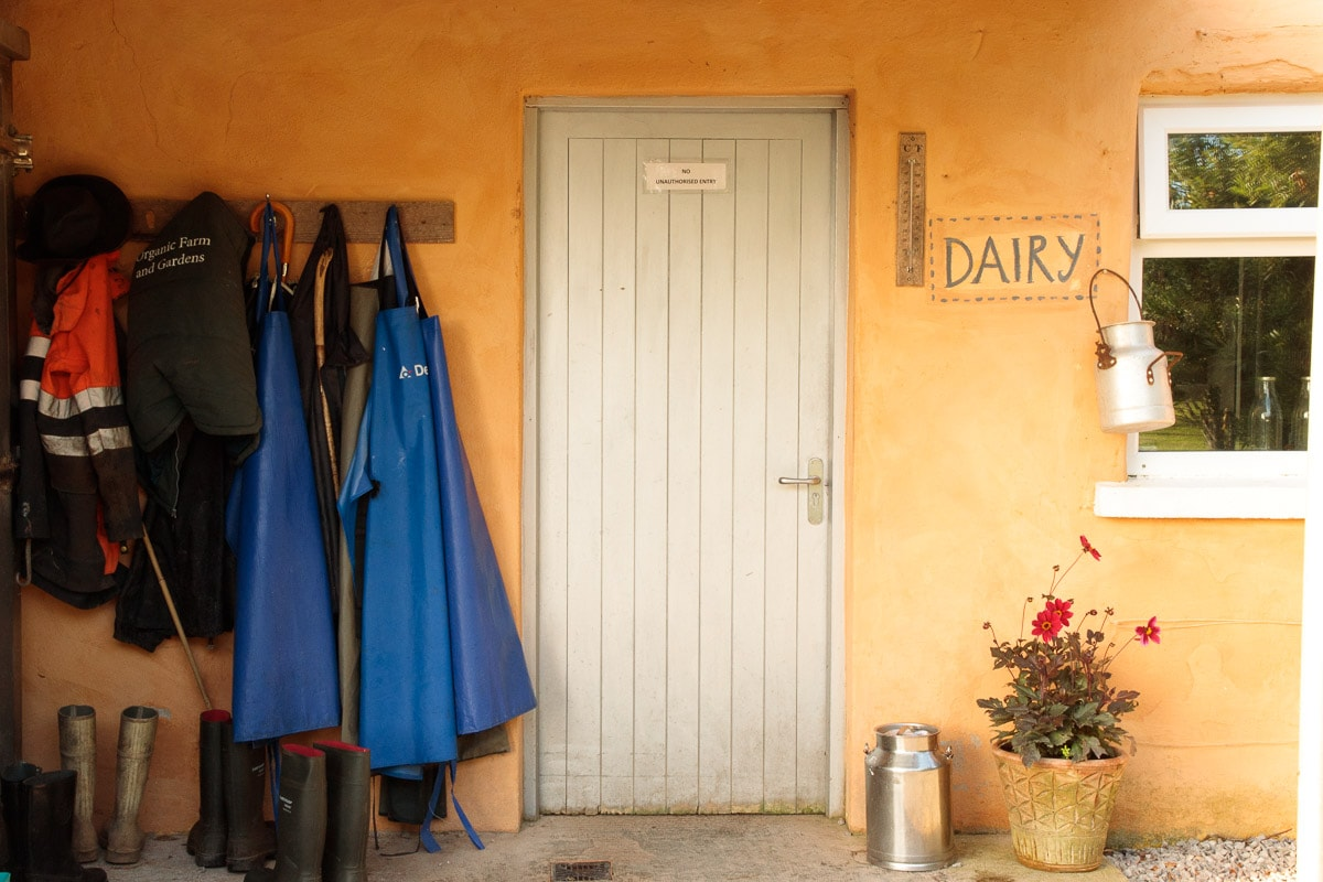 Photo of the Dairy building where the cows are milked at Ballymaloe Farm.