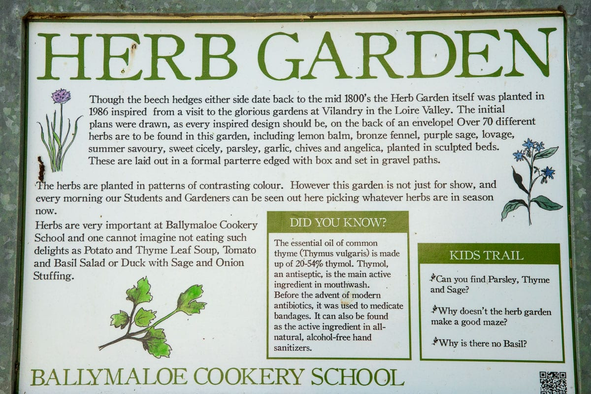 Photo of an herb garden sign outside of one of the Ballymaloe Farms gardens.