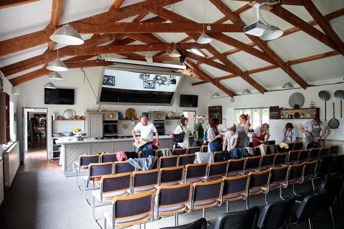 Photo of the main classroom at the Ballymaloe Cookery School in Shanagarry, Ireland.