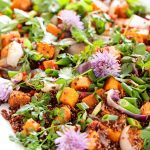 Close up vertical picture of a quinoa and sweet potato salad