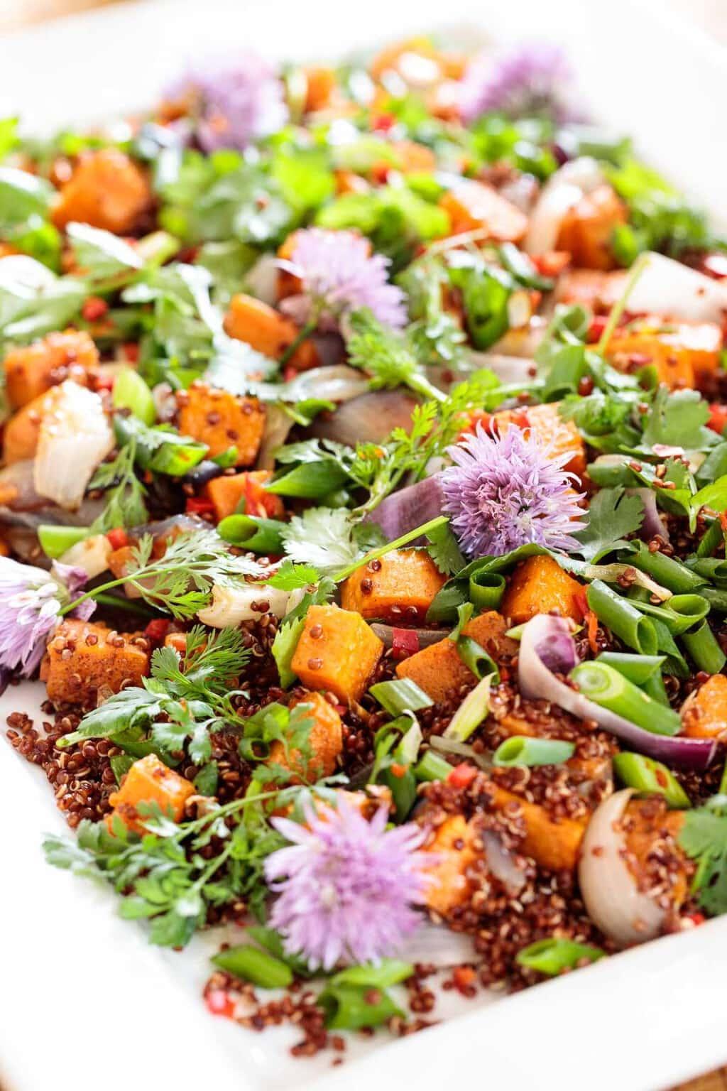 Close up vertical photo of a Quinoa Sweet Potato Salad.
