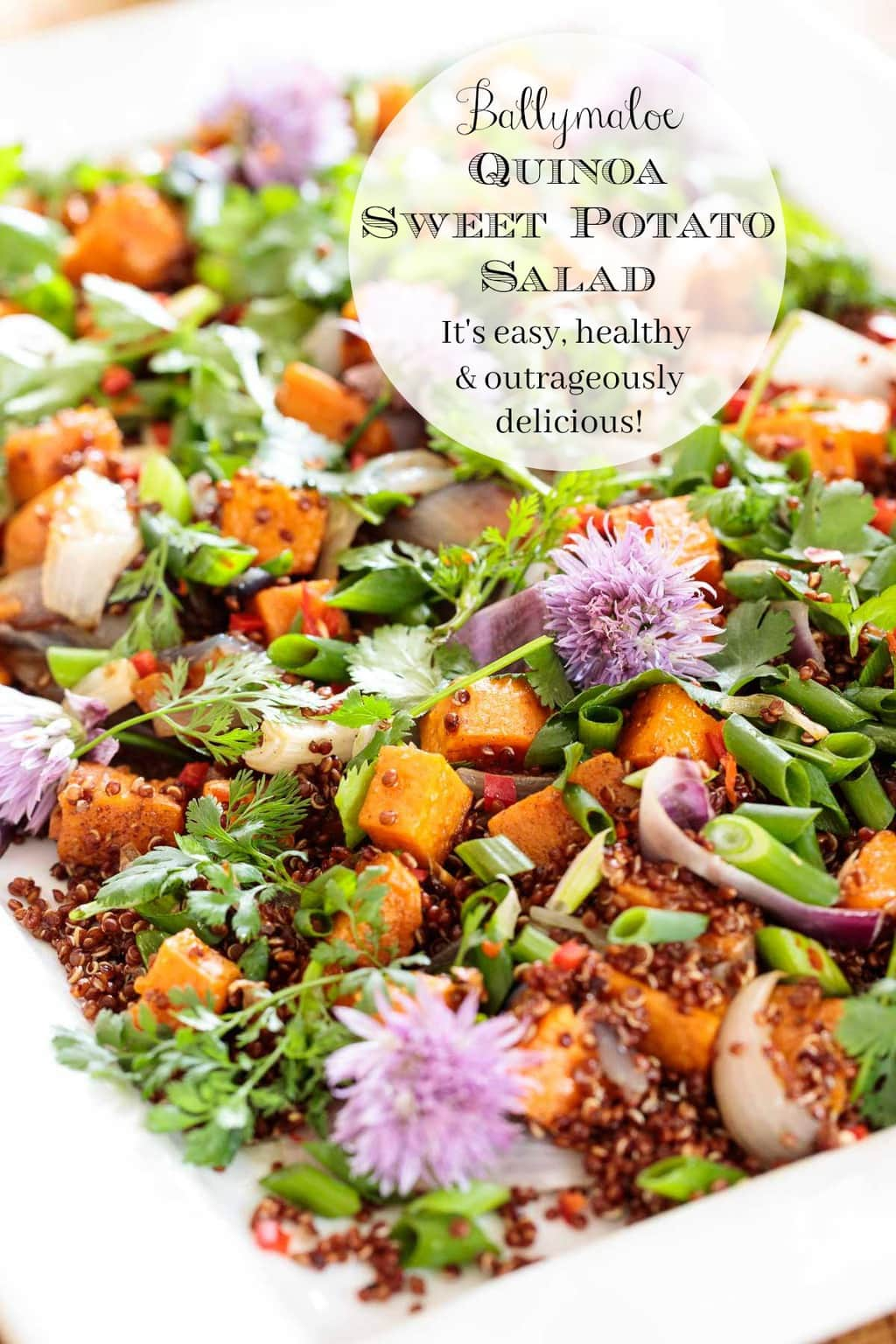 This Asian-inspired, Quinoa Sweet Potato Salad is super healthy, can be prepped ahead and simply bursts with bright, fresh, delicious flavor! #quinoasalad, #sweetpotatosalad, #makeaheadsalad, #healthysalad