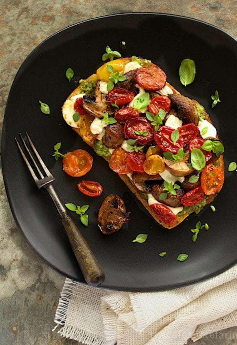 Roasted Balsamic Tomato & Mushroom Tartine