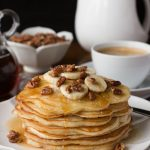 Banana Pancakes with Maple Molasses Pecans