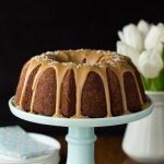 Banana Pound Cake with Salted Toffee Icing - the most delicious, easy banana cake you'll ever make!