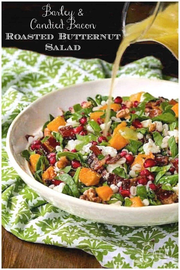 Everyone loves this Roasted Butternut Salad - it\'s super healthy but has an unbelievably delicious splurge. Are you ready? Candied bacon! #salad, #saladwithbutternutsquash, #barley, #butternutsquash, #healthy, #roastedbutternutsquash