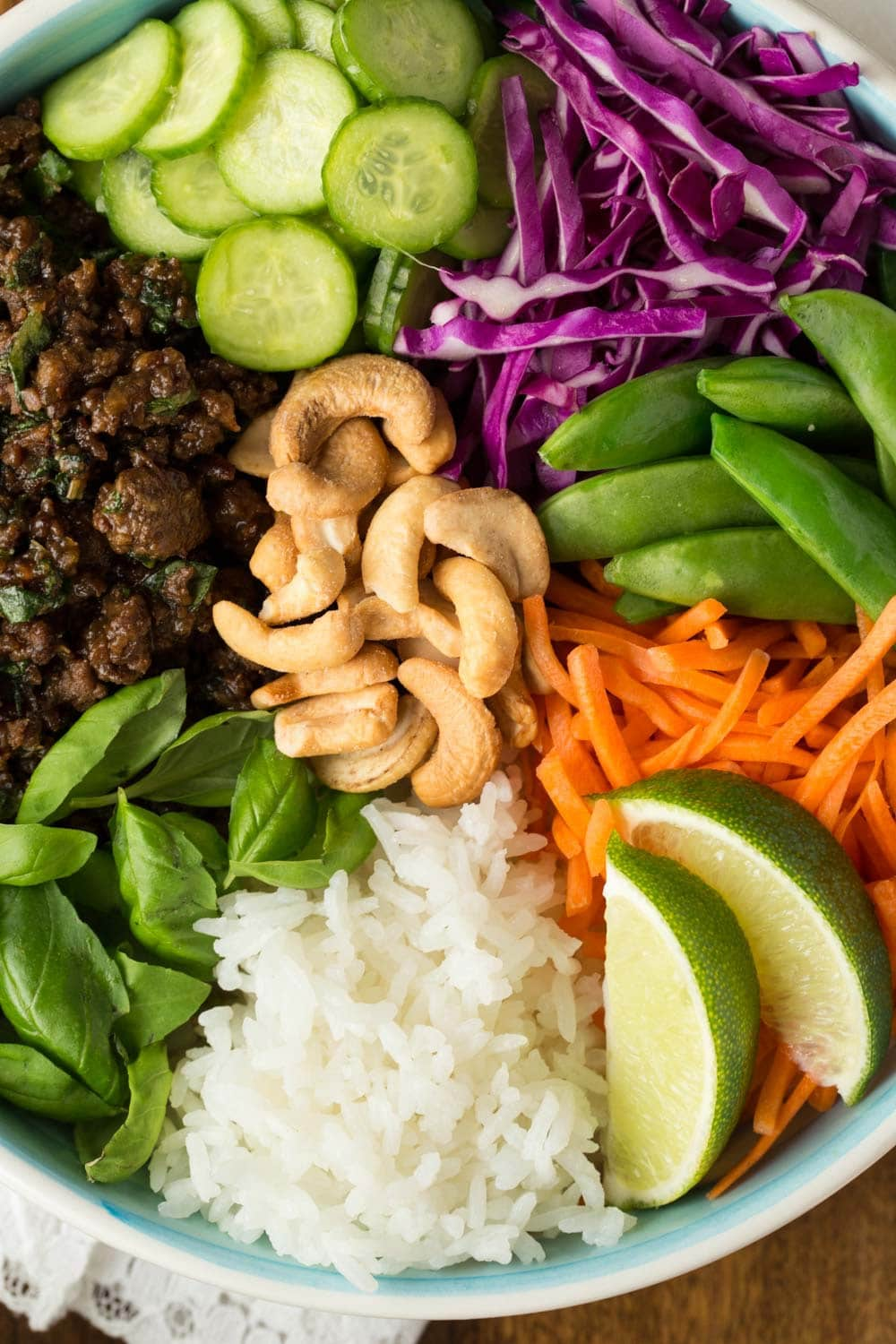 Overhead closeup photo of the ingredients in 30 Minute Thai Basil Beef Bowls.