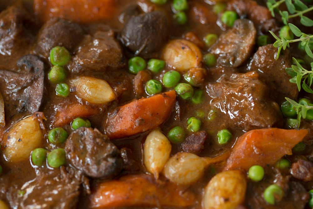 Close up picture of a pot of Beef Bourguingon.