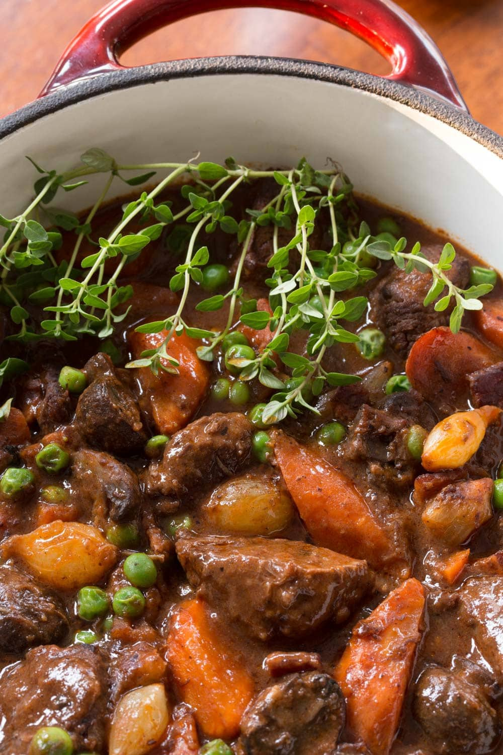 Close up photo of a pot of Beef Bourguignon.
