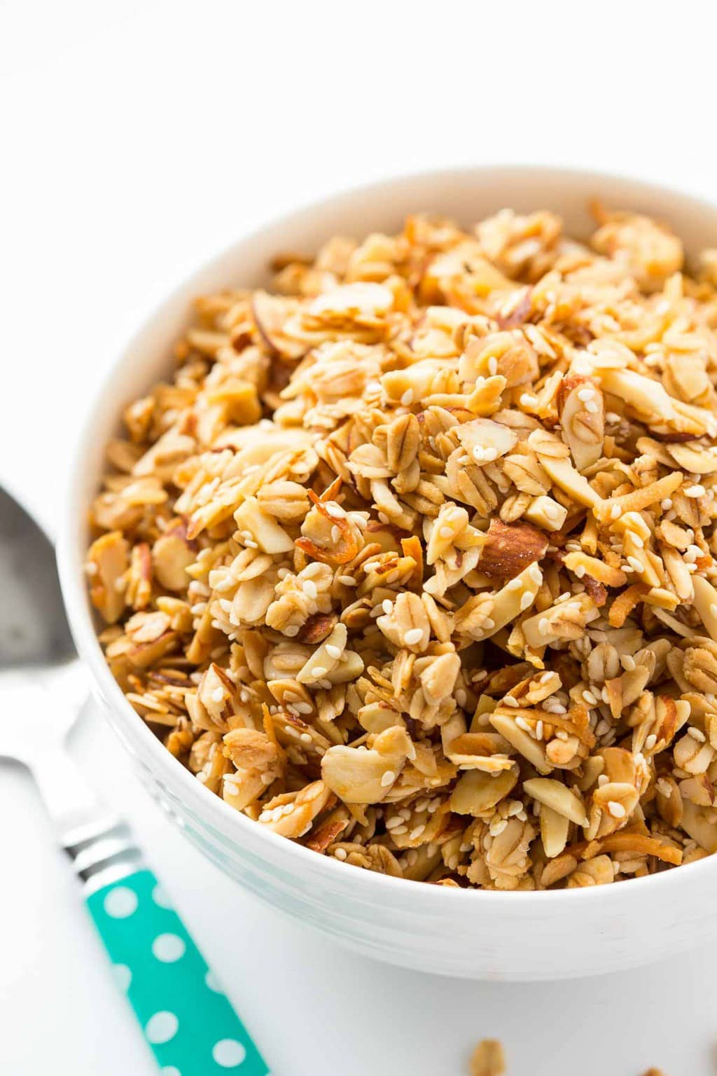 Vertical picture of Best Ever Granola in a white bowl