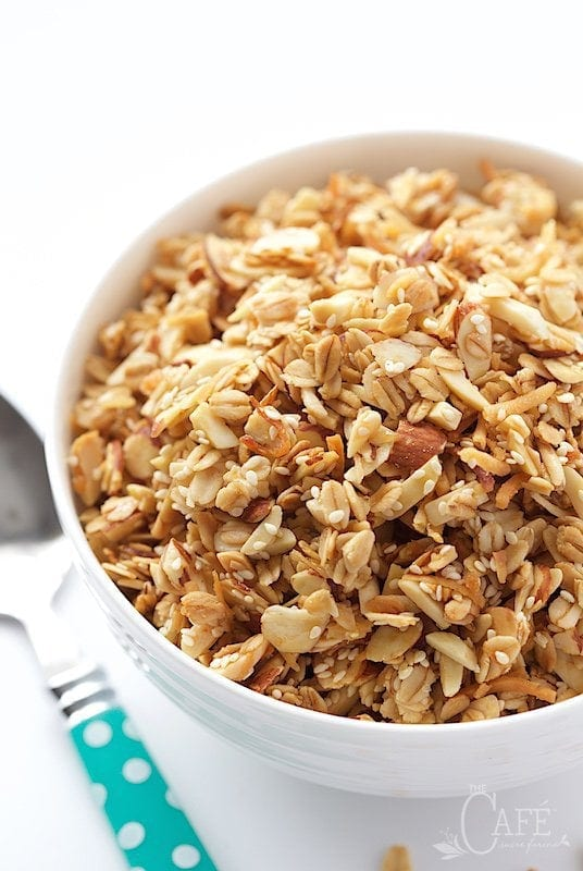 Overhead view of granola in a white bowl