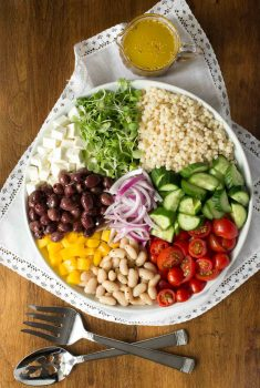 Best Greek Salad (with Pearl Pasta)