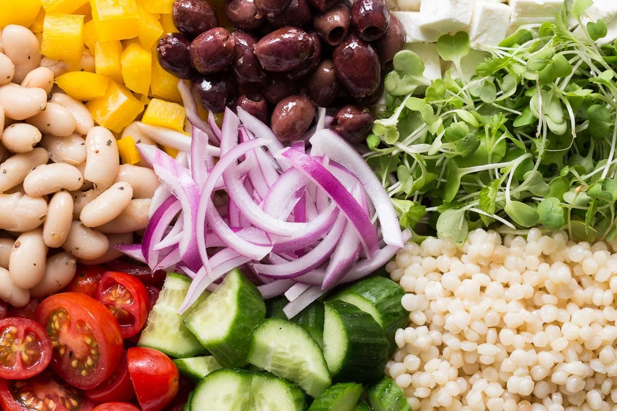 Closeup photo of the ingredients for a Best Greek Salad.