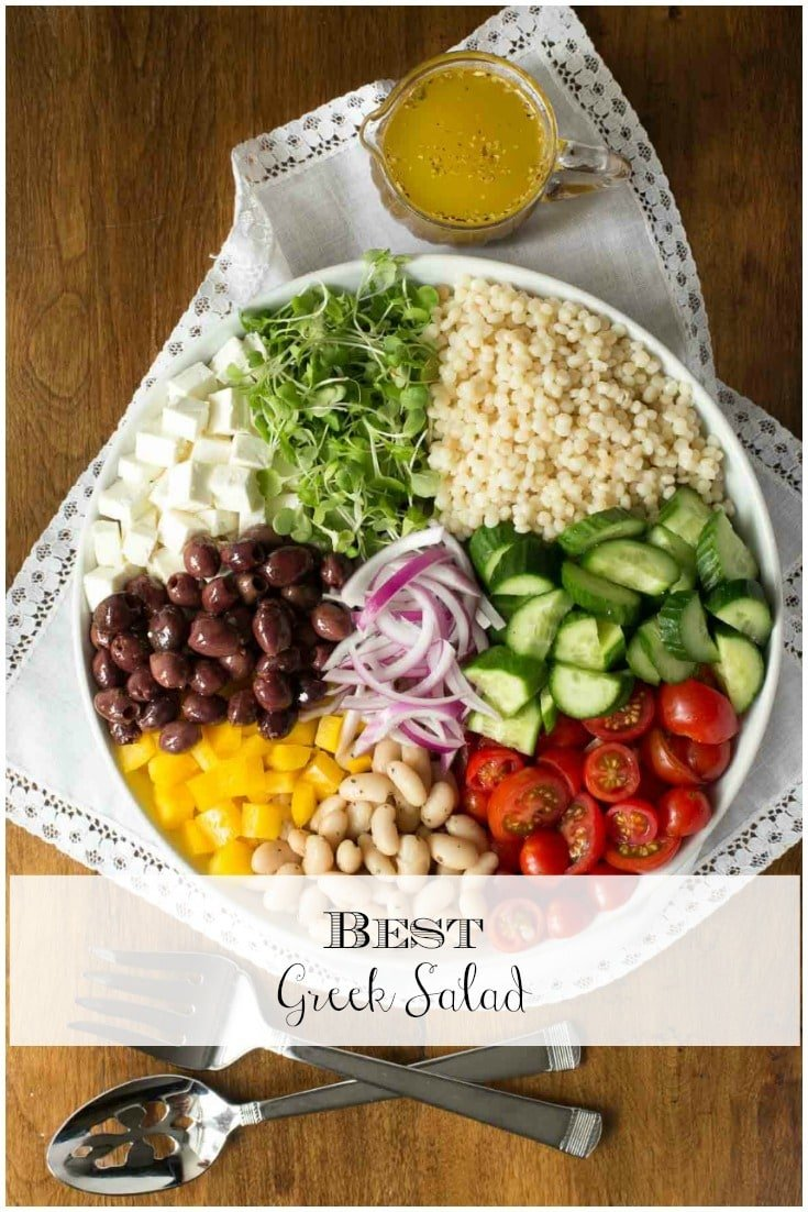 Fresh veggies, Feta, olives, cannellini beans, pearl pasta, and a vibrant, easy dressing - this might be the best Greek salad ever!